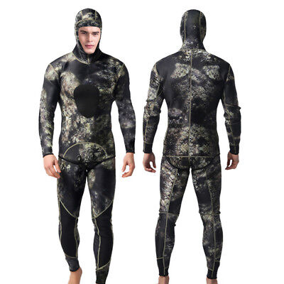 Neoprene 3mm Two-Piece Wetsuit Hooded Scuba Diving Suit Spearfishing Freediving ()