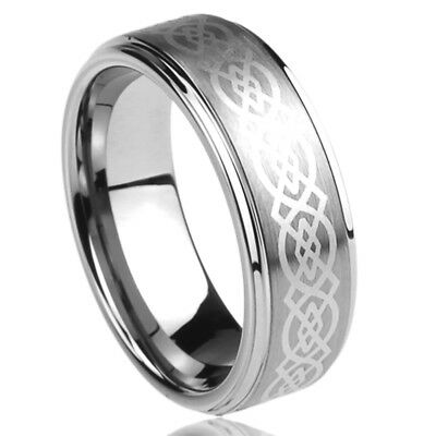 Wedding Mens Womens Ring - 8MM Titanium Mens Womens Rings Celtic Knot Design Comfort Fit Wedding Bands
