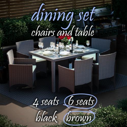 Garden Furniture - Rattan Garden Furniture Dining Set Wicker Chairs Table Outdoor Patio 4 6 Seater