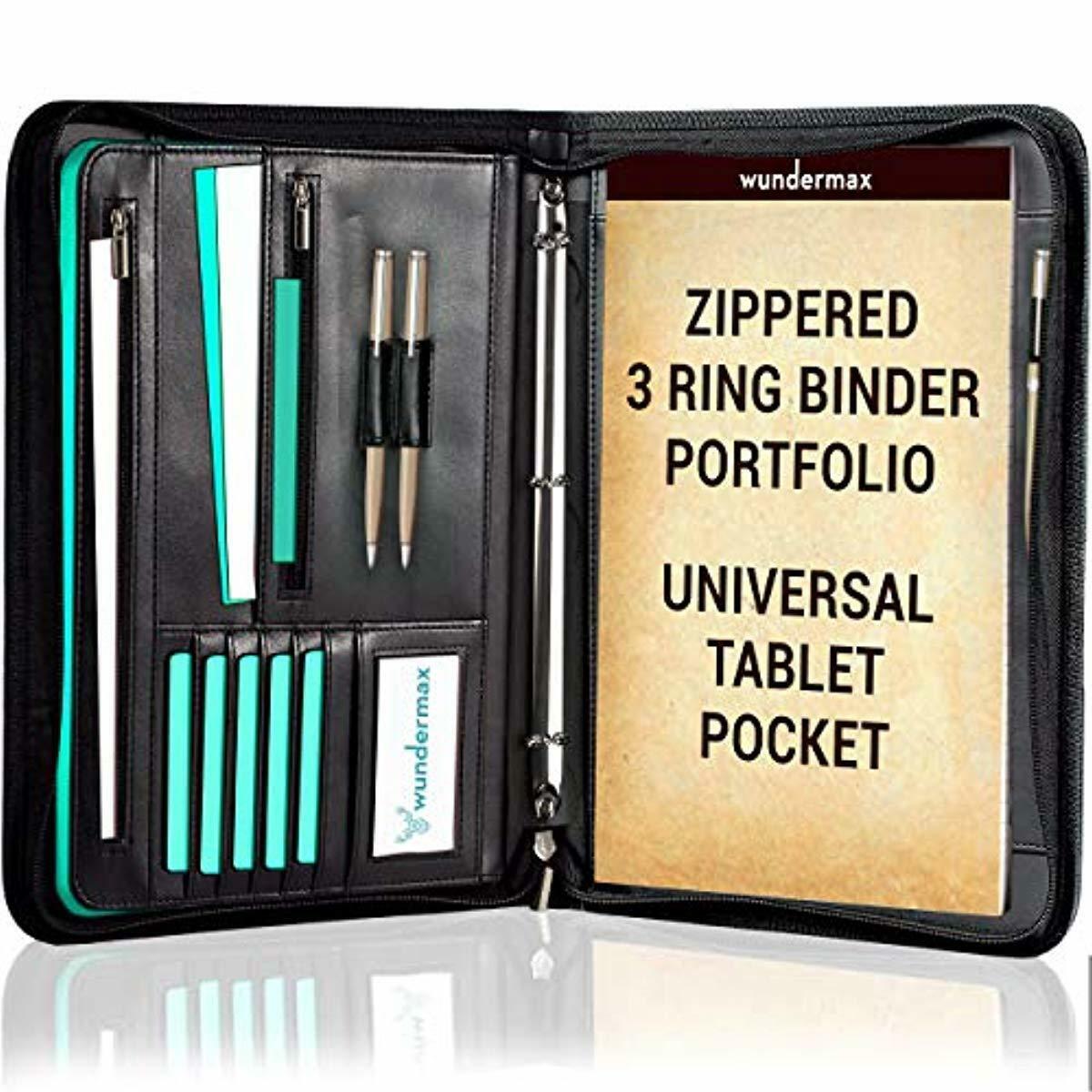 Portfolio Binder A Zippered Padfolio with 3 Ring Binder Docu