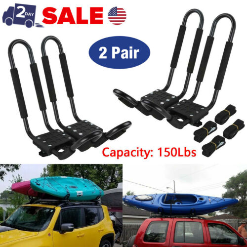 2 Pairs Universal Roof J-Bar Rack Kayak Boat Canoe Car SUV Top Mount Carrier USA