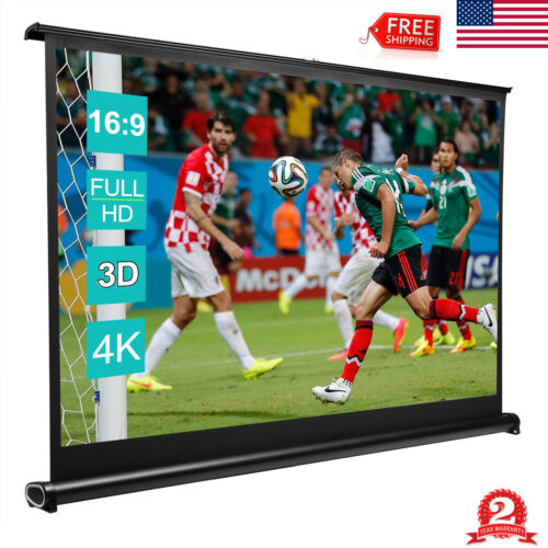 "50"" Portable Retractable Projector Screen 16:9 HD Home Theat"