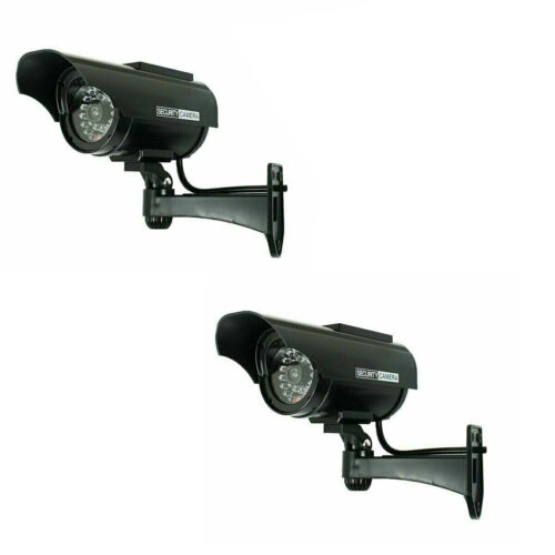 2 Pack Solar Power Fake Dummy Surveillance Security Camera CCTV & Record Light