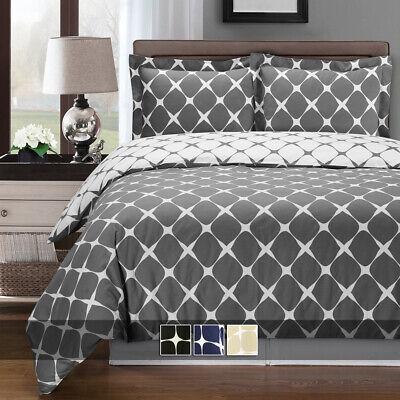 Bloomingdale 3 Piece Duvet Cover Set 100% Cotton Soft Reversible Comforter Cover Cotton Comforter Duvet Set