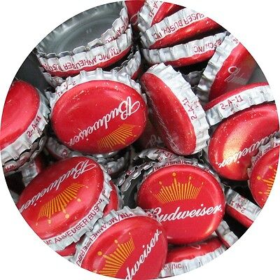 100 Budweiser Beer Bottle Caps (No Dents). Free S&H