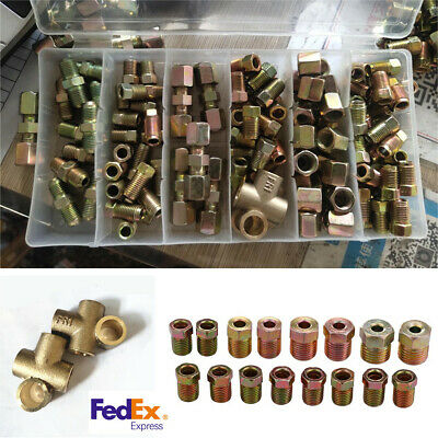 182Pcs Male Female In-line 3 Way 10mm x 1mm Metric Car Brake Pipe Connectors -US 2 Line 3 Way