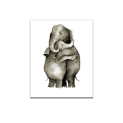 Embracing Elephant Canvas Art Painting Poster Living Room Picture Home - Elephant Room Decor