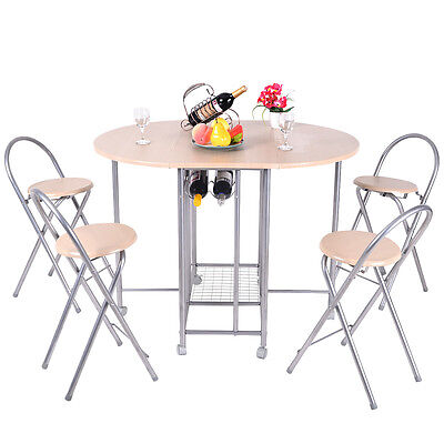 5PC Foldable Dining Set Table and 4 Chairs Breakfast Kitchen Fittings New