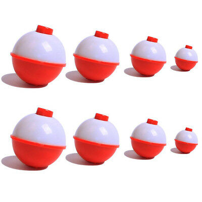 "FISHING BOBBERS OUTDOOR ANGLER 4 PK.,1-3//4/"" ROUND RED /& WHITE SNAP-ON FLOATS"