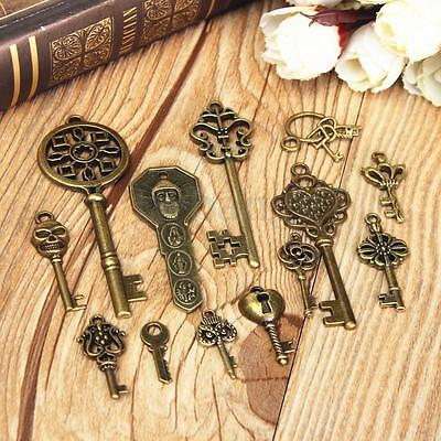 70Pcs Antique Vintage Old Look Bronze Skeleton Key Fancy Heart Bow Pendant Decor 5