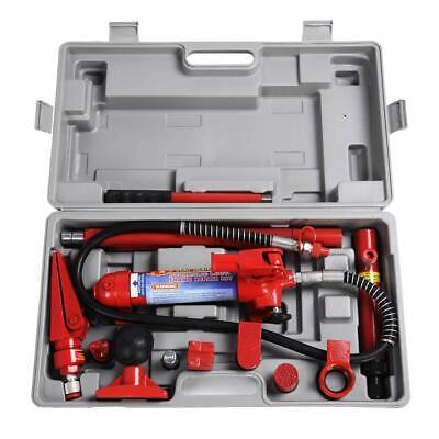 10 Ton Porta Power Hydraulic Jack Body Frame Repair Kit Auto Shop W Wheel