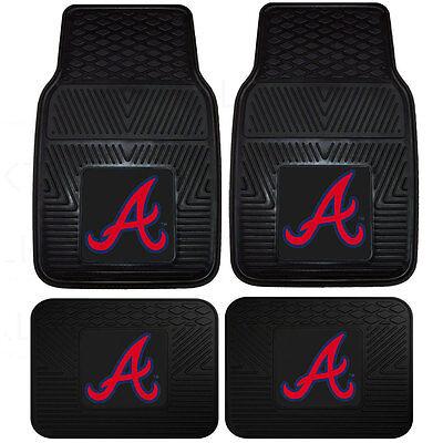 Atlanta Braves Mat - New MLB Atlanta Braves Car Truck Front Back Rubber All Weather Floor Mats