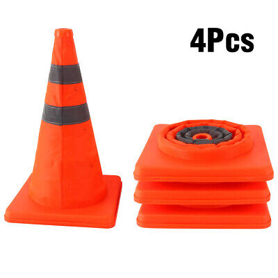 4 Pack 15.5 Collapsible Reflective Pop Up Road Safety Traffic Cones Set