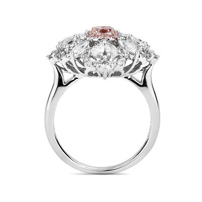 Natural Light Pink Diamond Solitaire Ring 1.58 Ct Radiant Cut 18K White Gold GIA 2