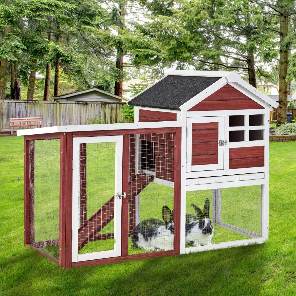 AECOJOY Wooden Rabbit Hutch Chicken Cage Hen Coop Small Animal House Cages, Hutches & Enclosure