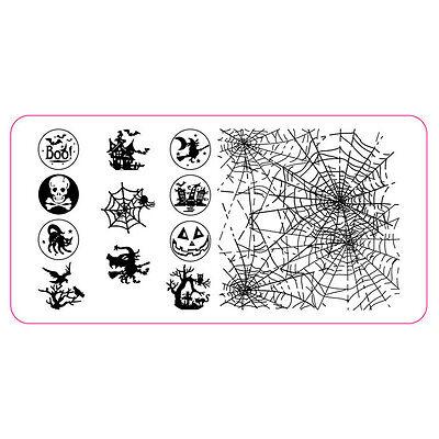 XL Stamping Schablone Halloween Spinnennetz Hexe Gothic Nailart Stempelplatte #1 ()
