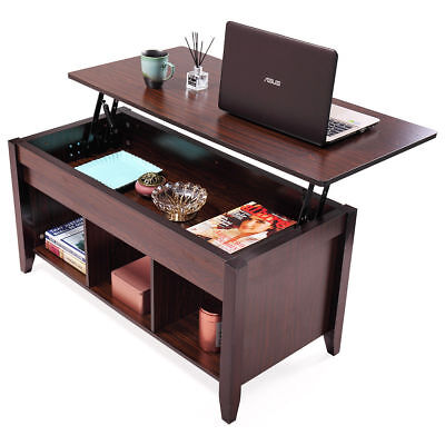 Lift Top Coffee Table w/ Hidden Compartment Storage Shelf Living Room Furniture