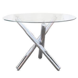 10mm Tempered Glass Chrome Finish Frame Orion Dining Table
