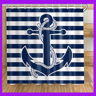 3D Print Nautical Navy Anchor Shower Curtain Bathroom Decor-12 Hooks 72x78 In. - Nautical Shower Curtain Hooks