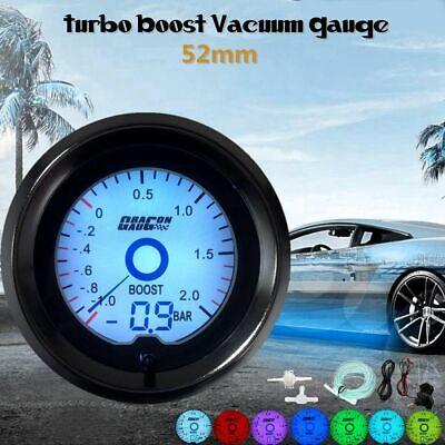 Universal 2'' 52mm Bar Turbo Boost Pressure Gauge Digital 7 Color LED Light   >