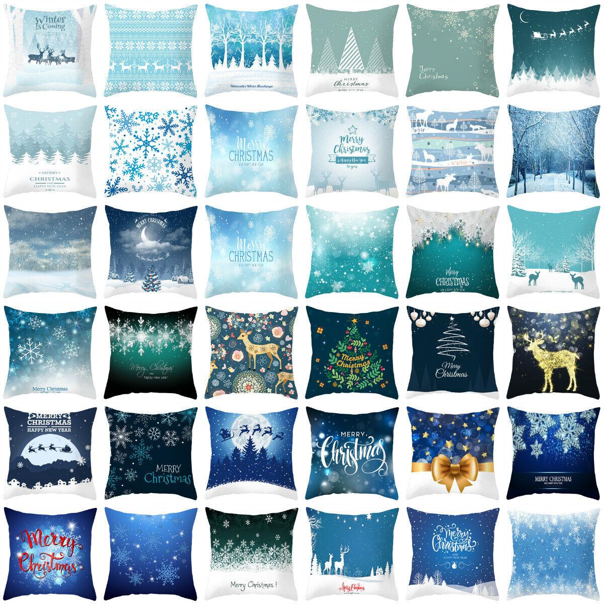 Blue Artificial Christmas pillows case throw cushion cover f
