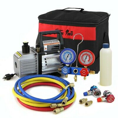 Xtremepowerus 3cfm 14hp Vacuum Pump Hvac Refrigeration Ac Manifold Gauge R134
