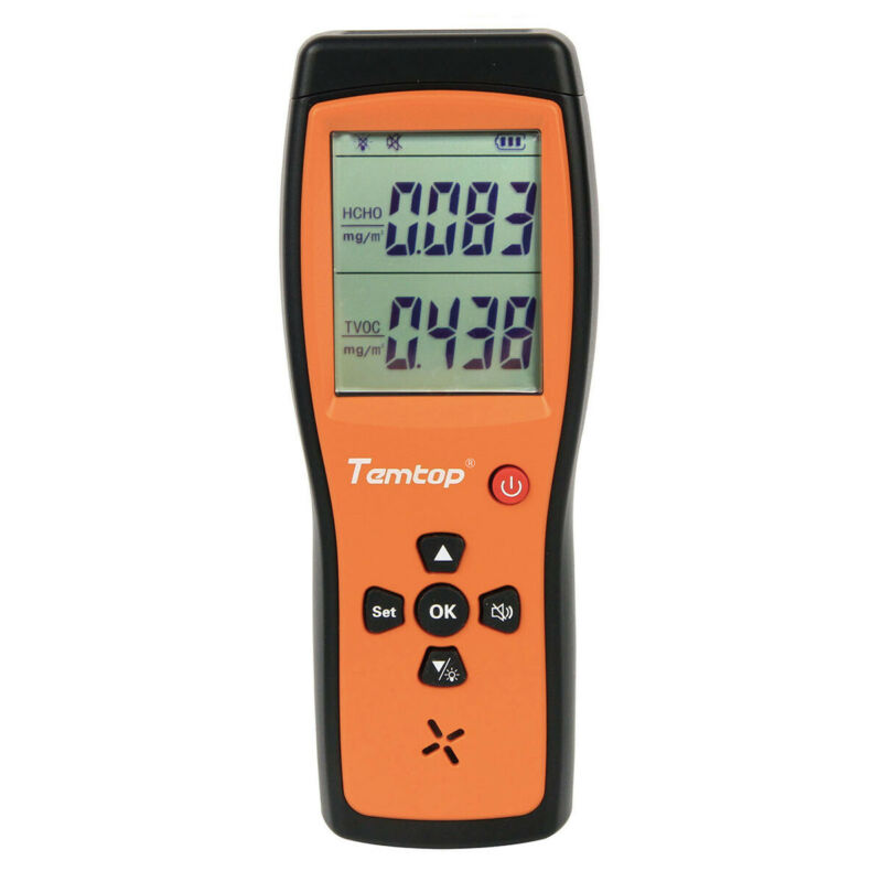 Used Temtop H2 Air Quality Detector Tester HCHO TVOC Monitor LCD Audio Alarm