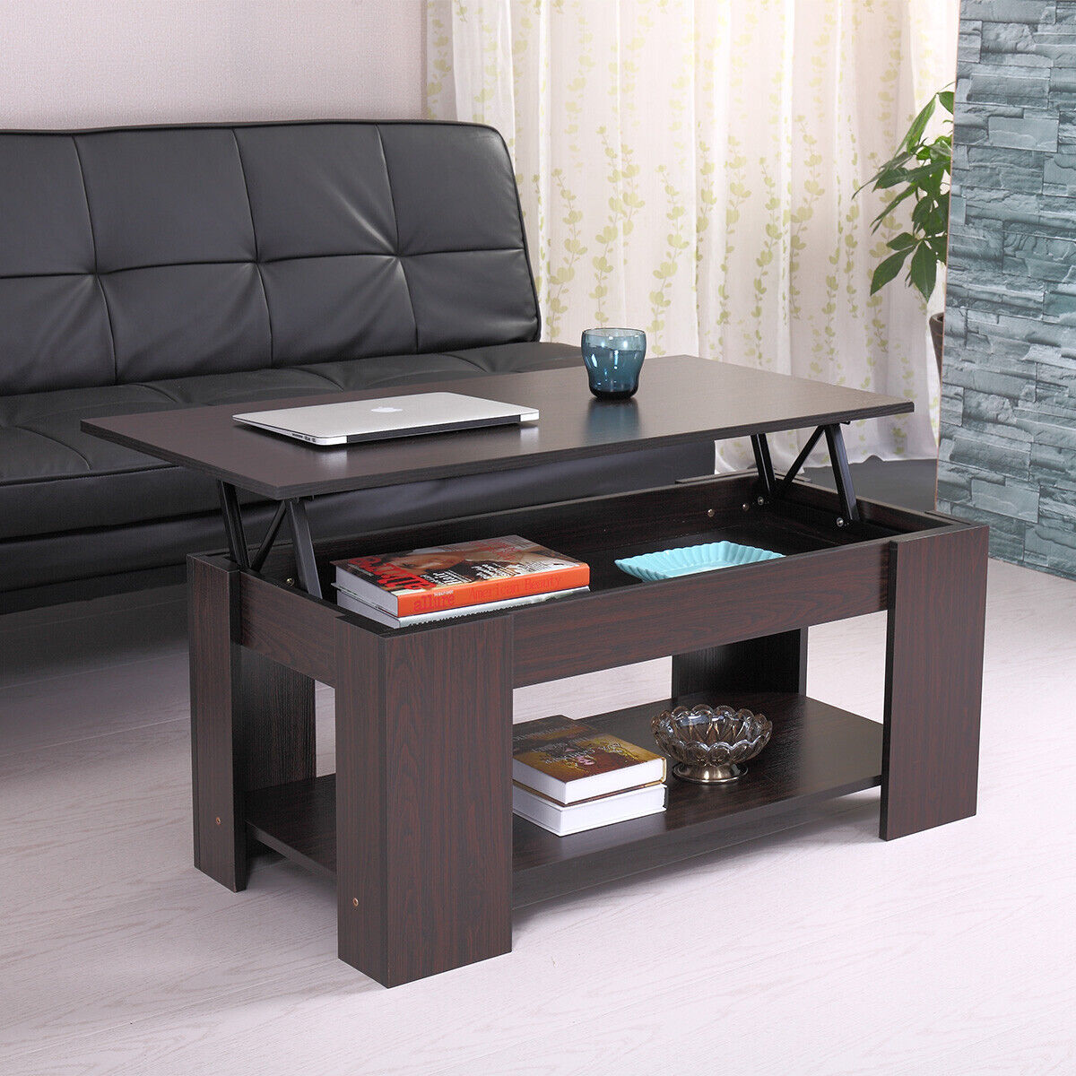 Modern Wood Lift Top Coffee Table W Storage E Living Room Furniture Walnut