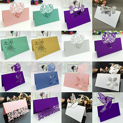 50Pcs Wedding Party Table Name Place Cards Laser Cut Love Heart Pearlescent Card](Wedding Placecards)