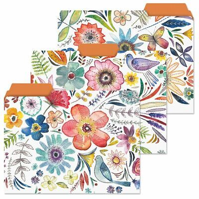 Decorative Floral File Folders Colorful Designs Set Of 12 Documents Storage New