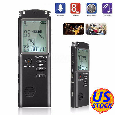 Mini LCD 8GB Rechargeable USB Digital Audio Voice Recorder Dictaphone MP3 Player