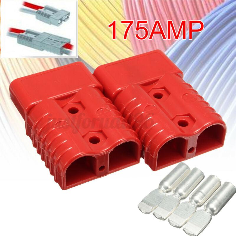 2Pcs Red Quick Connect 175 AMP Battery Connector Housing Plug 4PCS Terminals U