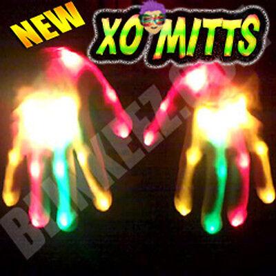 XBone HALLOWEEN RED ORANGE GREEN LED Gloves Raving Light Up Show DJ  *FREE SHIP*
