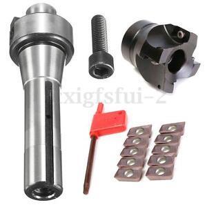 R8 FMB22 Arbor Morse Taper + 400R 50MM Face Mill Cutter +10 Carbide insert Blade