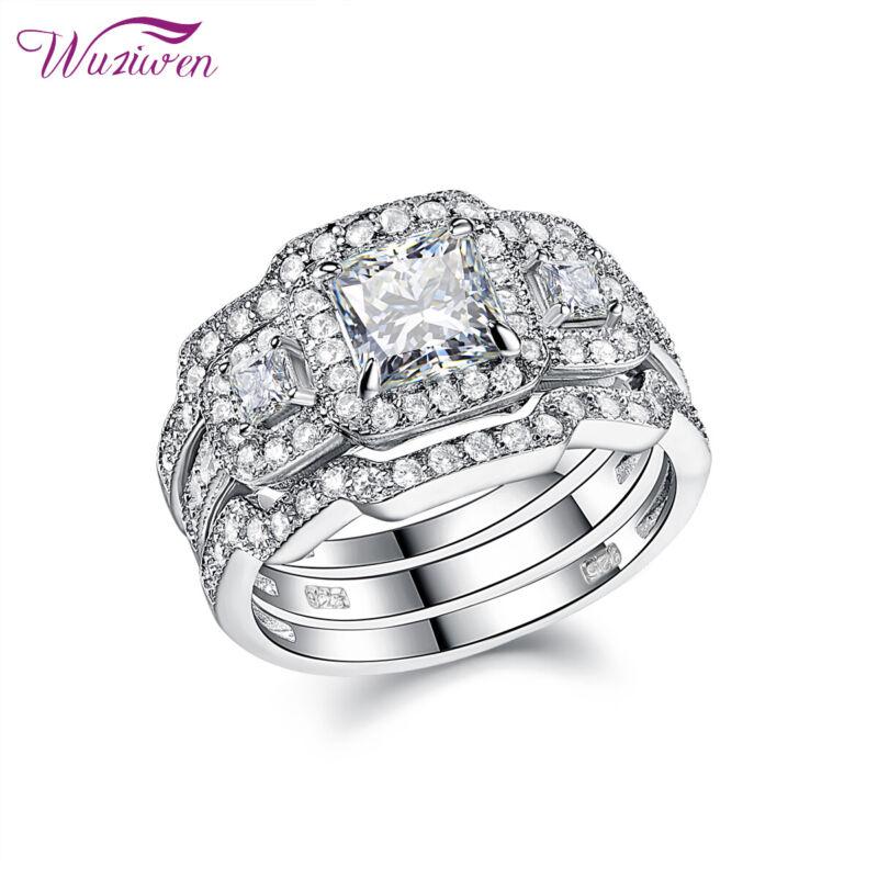Wuziwen Wedding Engagement Ring Set For Women 1.6ct Princess Cz Sterling Silver