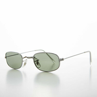 Silver Small Rectangular Frame 90s Vintage Sunglass with Glass Lens- (Declan Sunglasses)