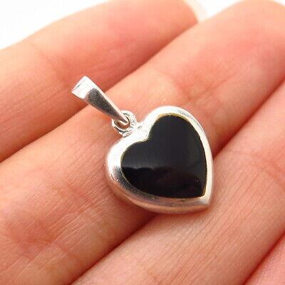 925 Sterling Silver Black Onyx Gemstone Heart Pendant Black Onyx Gemstone Pendant