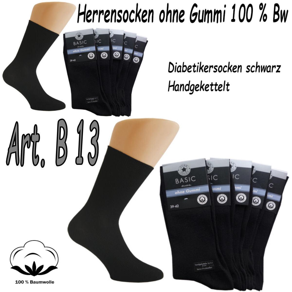 Herren Baumwollsocken Arbeitssocken Übergröße 100% Baumwolle schwarz OHNE GUMMI