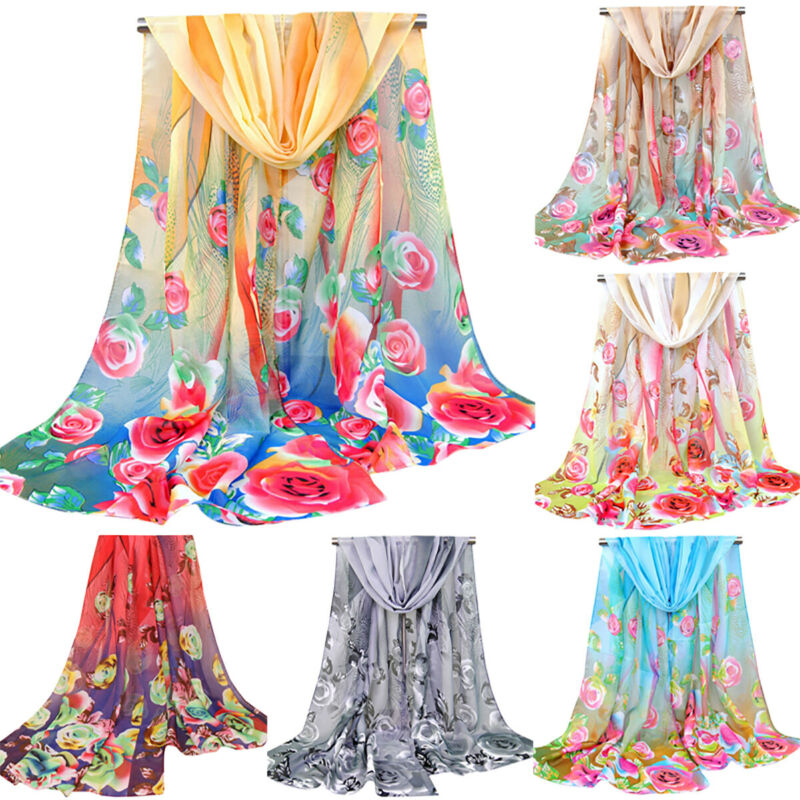 Lady Long Chiffon Floral Casual Scarf Poncho Wrap Shawl Beach Stole Soft Scarves Clothing, Shoes & Accessories