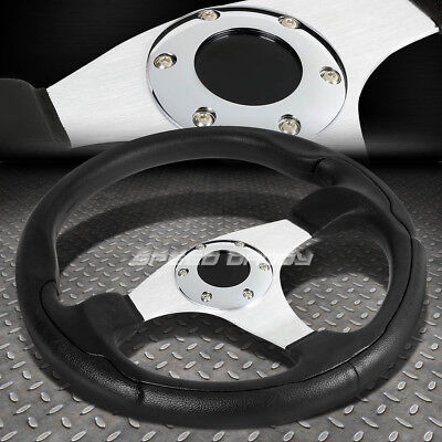 Chrome Aluminum Steering Wheel (ALUMINUM 330MM RACING STEERING WHEEL JDM CHROME 3-SPOKES STYLE PVC LEATHER GRIP )