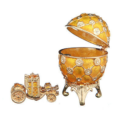 Faberge Egg Trinket Jewel Box Russian Coat of Arms & Carriage 2.4'' 6.2cm yellow ()