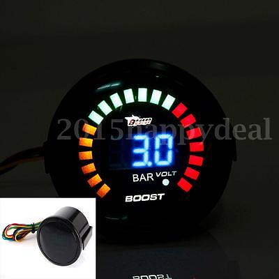 2'' 52MM Universal Digital Analog LED Auto Turbo Boost Vacuum Gauge Meter Bar
