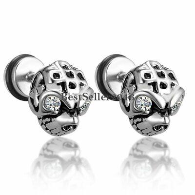 2pcs Men Boys Stainless Steel Gothic Punk Skull Skeleton Head CZ Stud Earrings](Gothic Boys)