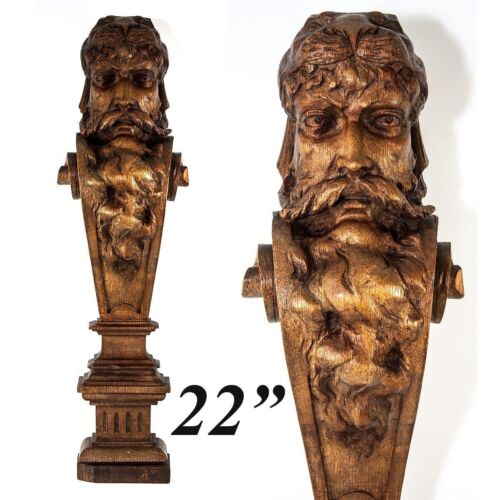 Carved Antique Caryatid Figural Shelf Support, Furniture Salvage Portrait Corbel