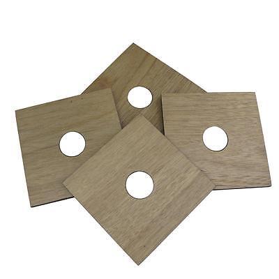 Inspire Set of 4 Oak & Round Metal Coasters 10cm x 10cm Modern Contemporary