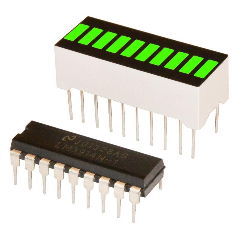 10 Segments Led Bar Graph GREEN + Driver LM3914 (Arduino)