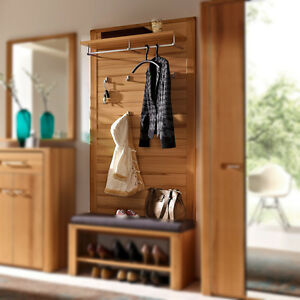 Garderobenpaneel Nature Plus Flurmöbel Garderobe Kernbuche teilmassiv