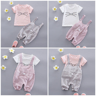 2pc baby clothes summer short sleeve Tee+bib pants kids baby girls outfits cat - Guy Outfits