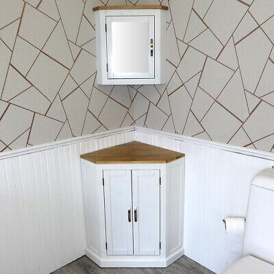 Bathroom Vanity Unit Free Standing White Painted Corner Cabinet 501BP