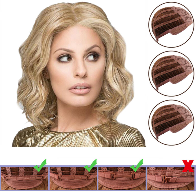 Women Ombre Blonde Short Wavy Curly Real Wig Brown Bob Natural Full Hair Wigs Hair Care & Styling